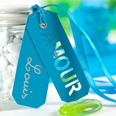 Etiquettes amour à nouer ( 10) turquoise