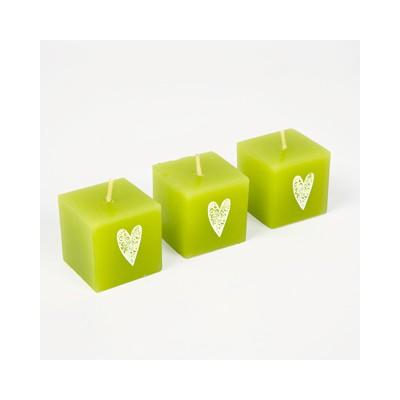 Bougies mini cubes cœurs (x3) vert anis