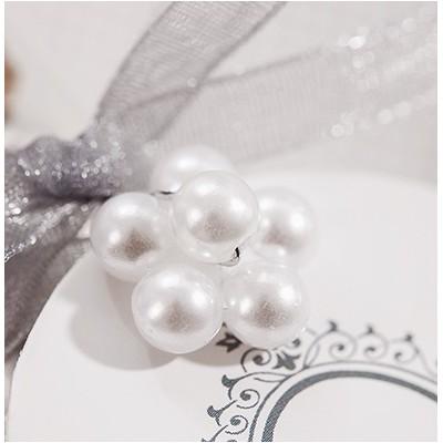 Piquets perles blanc (x16)