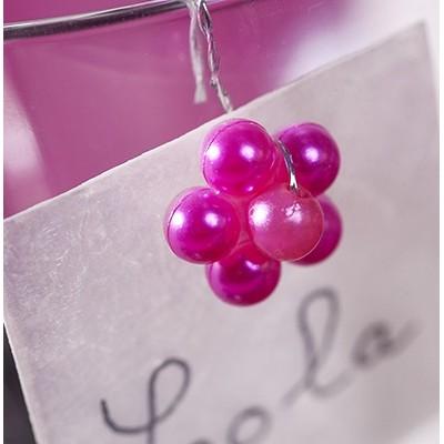 Piquets perles fuchsia (x16)