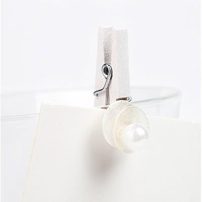 Pinces nacres et perle (x8) blanc