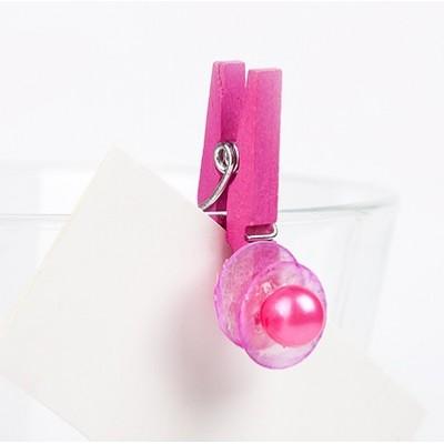 Pinces nacres et perle (x8) fuchsia