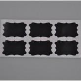 Grandes étiquettes rectangulaires noires (x6)