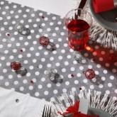 Chemin de table gris à pois blanc