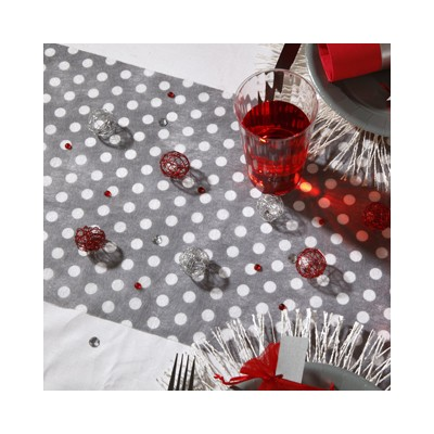Chemin de table gris pois blanc for Chemin de table gris