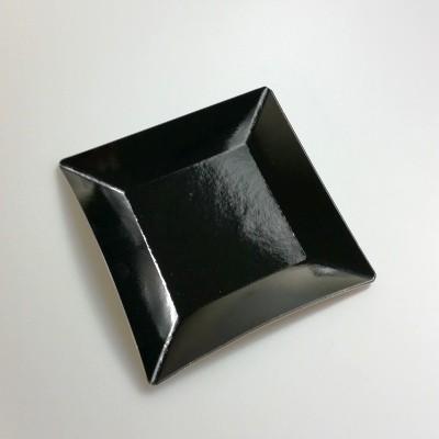 Grandes assiettes carrées métallisées (x8) noir