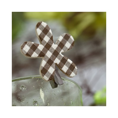 Pinces fleurs Vichy (x6) chocolat