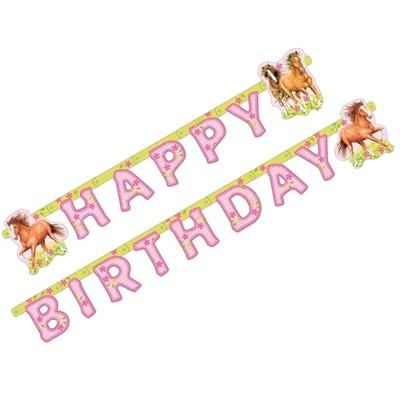 Guirlande happy birthday chevaux