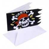 Cartons d'invitations pirates (x6)
