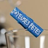 Pinces « Joyeuses fêtes » x4 bleu nuit