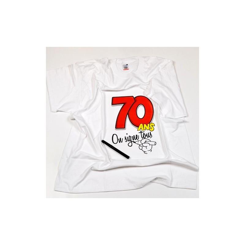 Tee shirt anniversaire signer 70 ans type for Deco annee 70 pour anniversaire