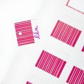 Etiquettes rayées carrées (x25) fuchsia