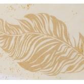 Chemin de table plumes pailletées ivoire / or