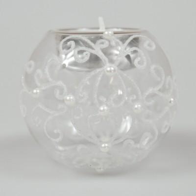 Bougeoir boule de Noël en verre soufflé argent
