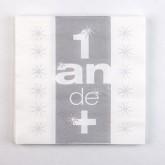 Serviettes 1 an de + (x10) argent / blanc