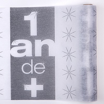 Chemin de table 1 an de + argent / blanc