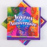 Serviettes Joyeux Anniversaire (x16) multicolore