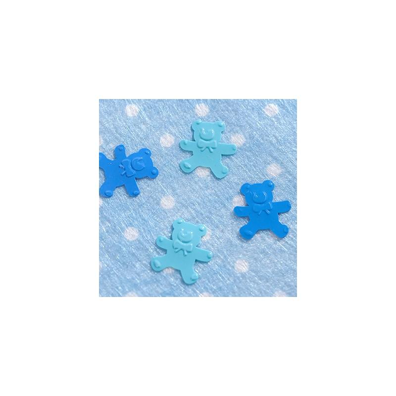 Confettis de table oursons bleu turquoise for Decoration bleu turquoise