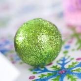 Grosses boules pailletées sur tiges x6 vert anis