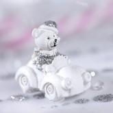 Oursons de Noël en résine sur stickers (x4) argent