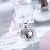 Boules de Noël marque-places argentées (x6) argent