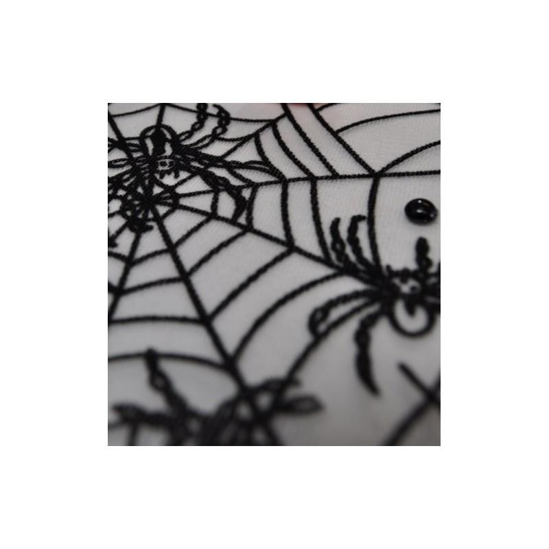 Chemin de table tulle araign es blanc noir - Chemin de table noir et blanc ...