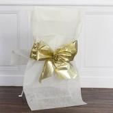 Housse de chaise (x1) avec nœud métallisé ivoire / or