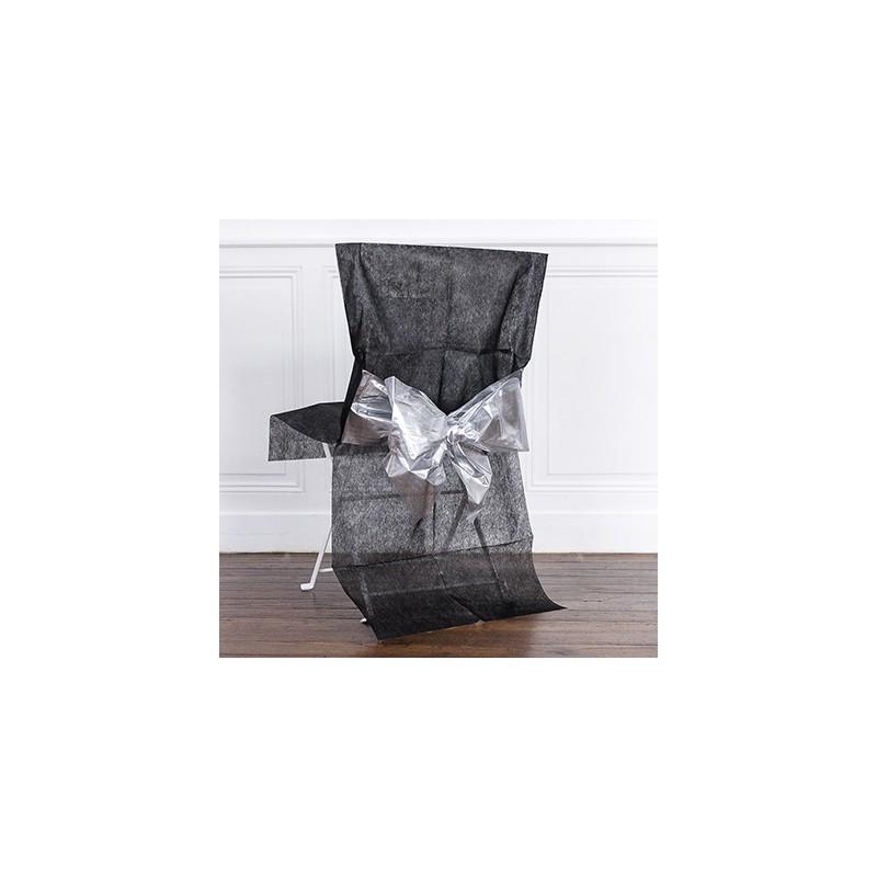 Housse de chaise x1 avec n ud m tallis noir argent for Housse de chaise noir
