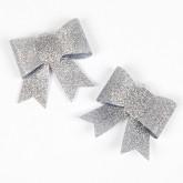 Noeuds pailletés sur pince (x2) argent