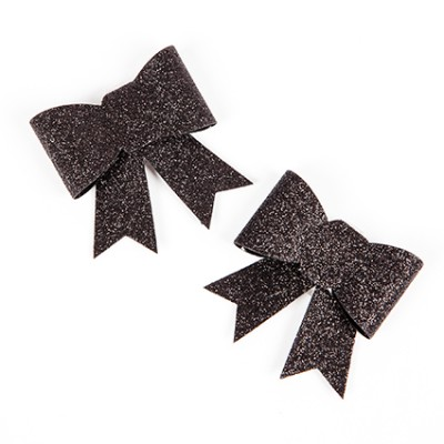 Noeuds pailletés sur pince (x2) noir