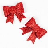 Noeuds pailletés sur pince (x2) rouge