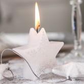 Bougies étoiles flocons blanc / argent