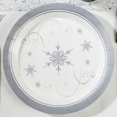 Assiettes carton flocon de neige (x8) blanc / argent