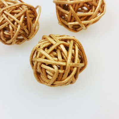 Mini boules en rotin or (x12)