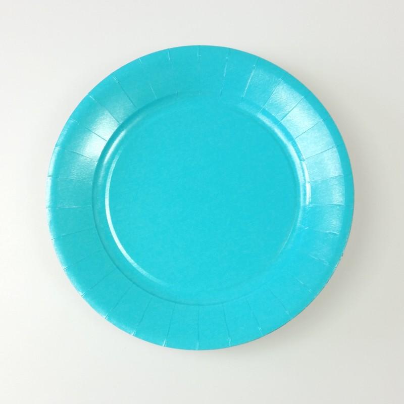 assiettes carton de couleur x20 turquoise. Black Bedroom Furniture Sets. Home Design Ideas