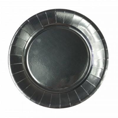Assiettes carton de couleur (x20) noir