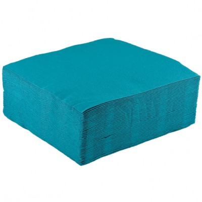 Serviettes papier de couleur turquoise x40 for Deco serviette de table en papier