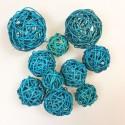 Boules en rotin turquoise (x10)