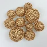 Boules en rotin or (x10)