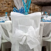 Housses de chaise + noeud en non tissé blanc (x10)