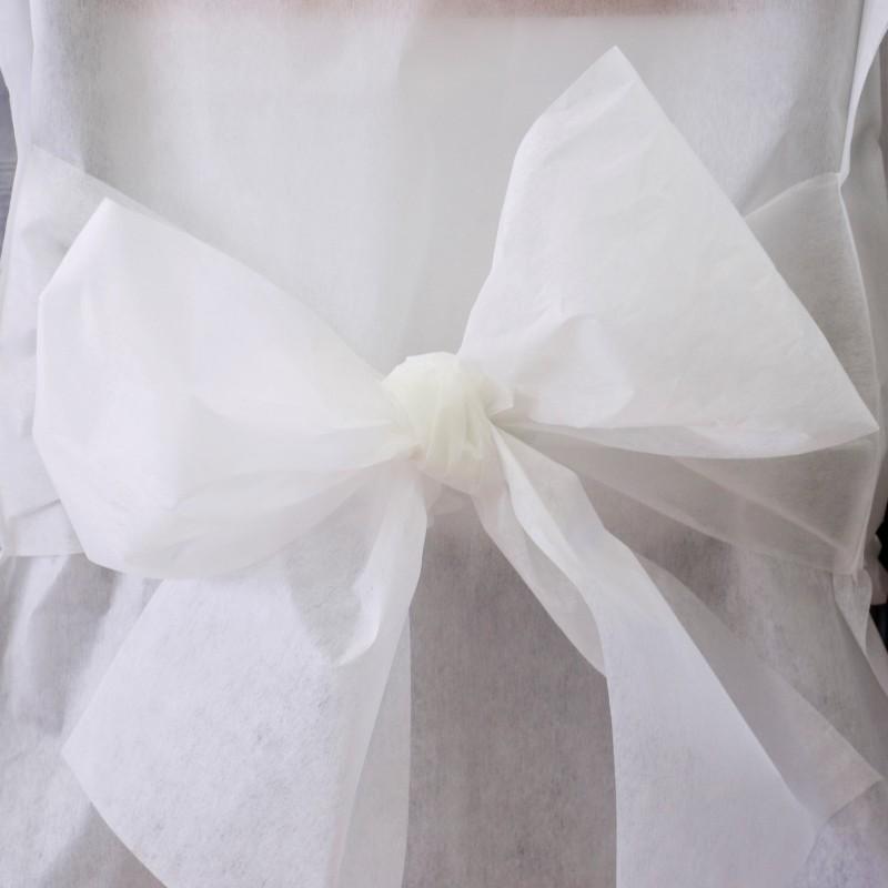 Housses de chaise blanches x10 noeud en non tiss for Housses de chaises blanches