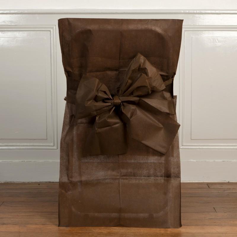 housses de chaise chocolat x10 noeud en non tiss. Black Bedroom Furniture Sets. Home Design Ideas
