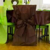 Housses de chaise + noeud en non tissé chocolat (X10)