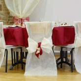 Housses de chaise + noeud en non tissé ivoire (x10)