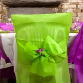 Housses de chaise + noeud en non tissé vert anis (x10)