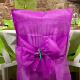 Housses de chaise + noeud en non tissé prune (x10)