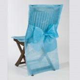 Housses de chaise + noeud en non tissé turquoise ( x10)