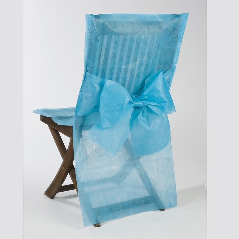 Housses de chaise turquoise x10 noeud en non tiss for Housse de chaise turquoise