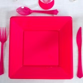 Assiettes carrées (x8) fuchsia