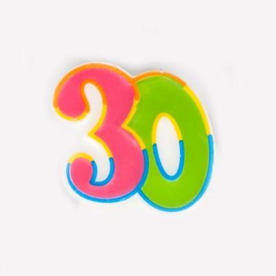 Bougie d'anniversaire multicolore 30